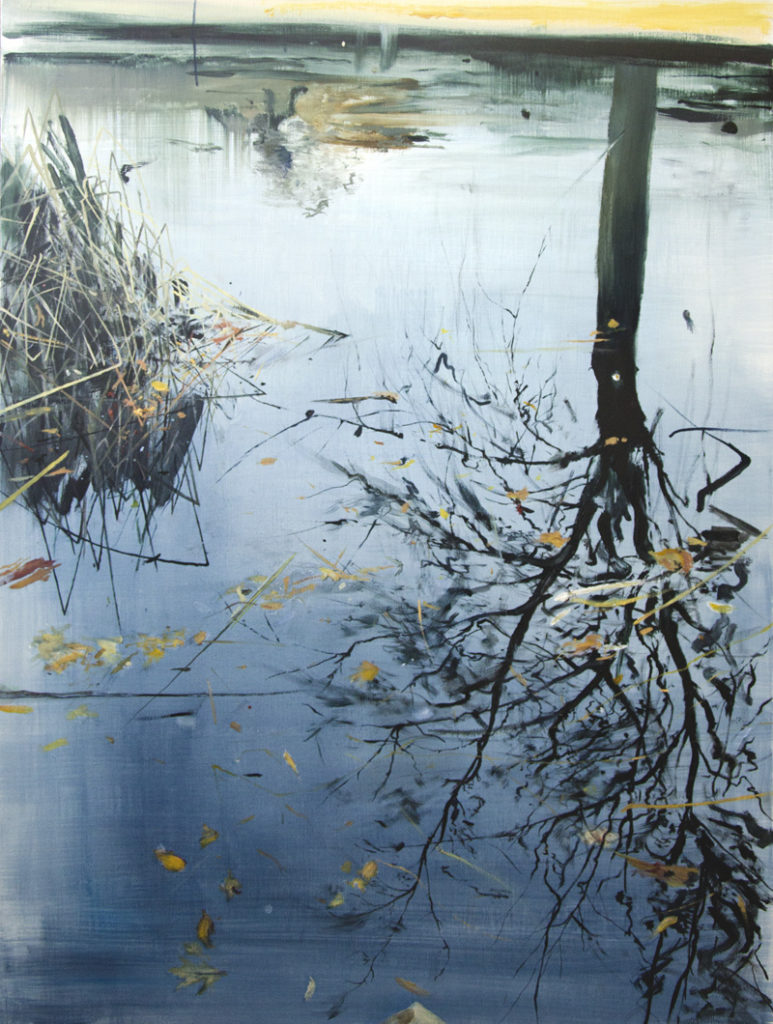 Calum McClure Leaves and Reeds on Tree Reflection