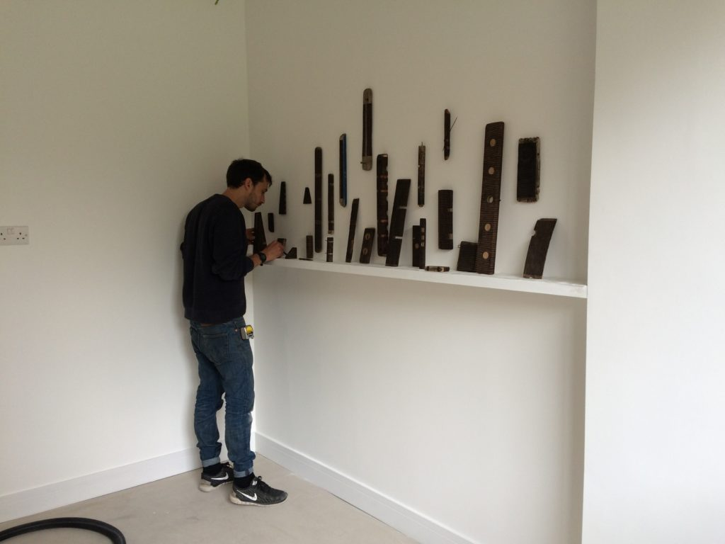 Sunlight and Gravity Daniel from Annely Juda Gallery installing Roger Ackling works