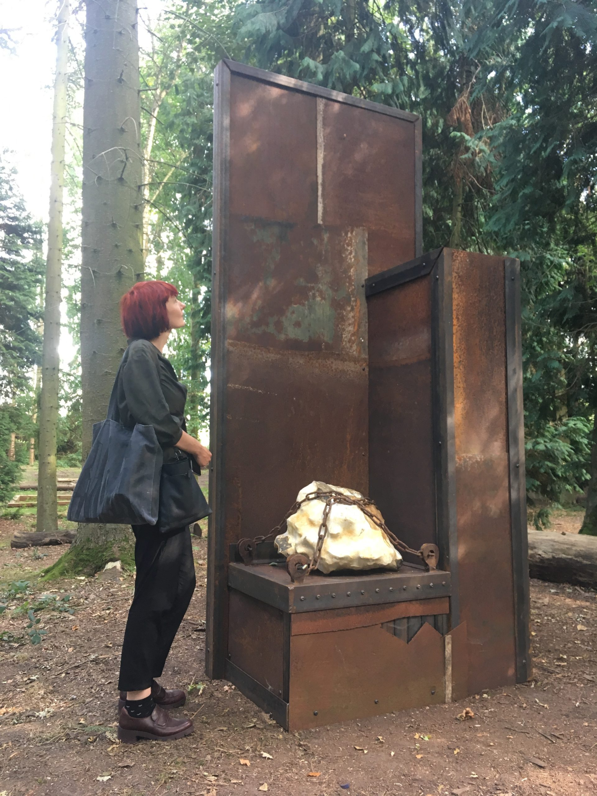 Antonia Beard with sculpture made for Houghton Festival, 2019