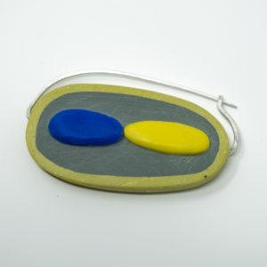 Bronwen Gwillim fibula brooch blue and yellow