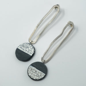 Bronwen Gwillim Slate fossil pendant earrings