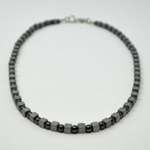 Linda McFarlane's dainty haematite necklace is a classic. Alternating cubes and beads in shades of dark grey, is one of Linda's signature styles. It is stylish, easy to wear and goes with almost anything. You will find you wear it all the time.
