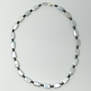 Linda McFarlane: Oblong Freshwater Pearls and Haematite Necklace