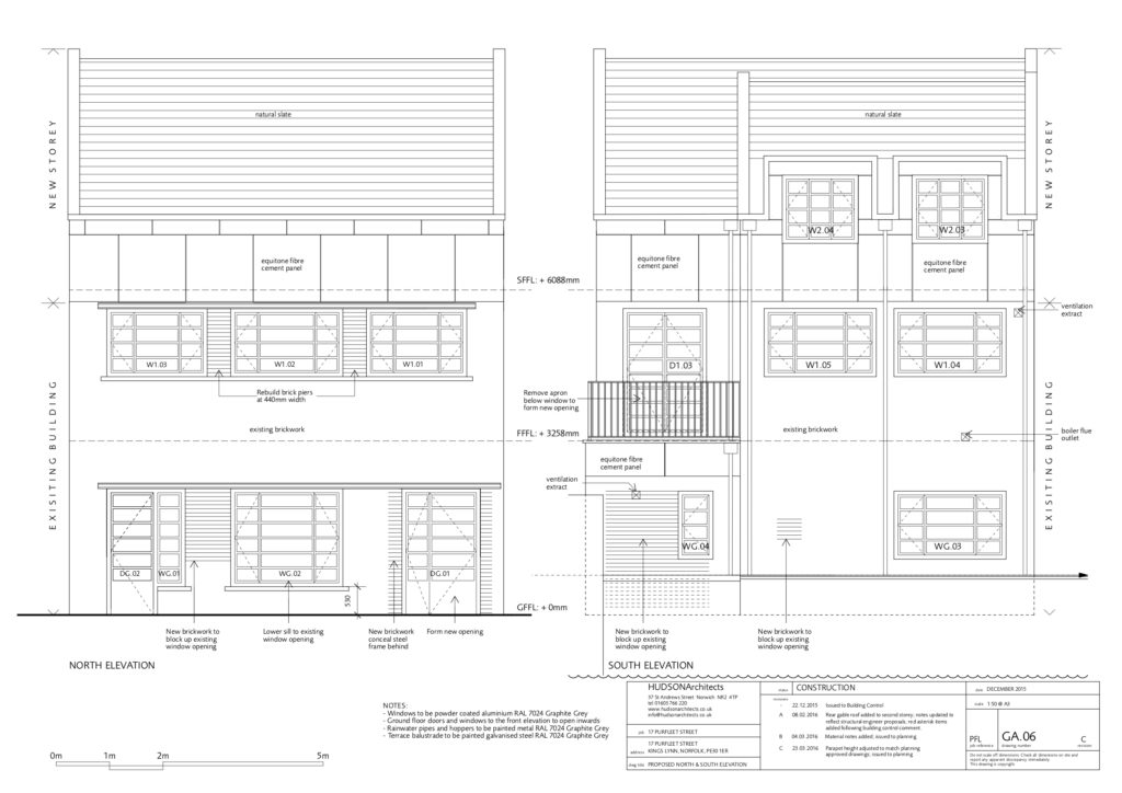 The building conversion: Hudson elevation drawings for 17 Purfleet street