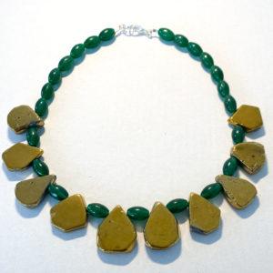 Linda McFarlane: Titanium Coated Quartz and Green Stone Necklace