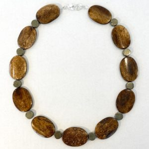 Petrified Wood and Pyrite necklace