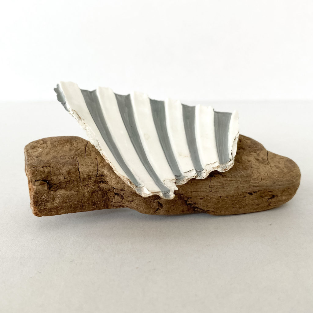 Linda McFarlane Shell and Driftwood brooch
