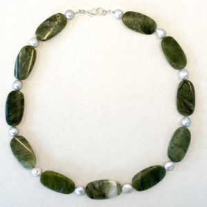 Linda McFarlane: Green Agate and Pearl Necklace