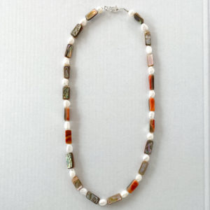 Pearl and Orange Abalone Necklace