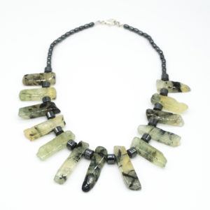 Linda McFarlane: Titanium coated quartz and green stone necklace