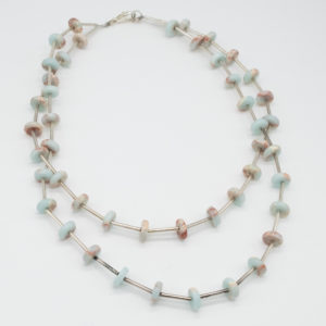 Double Silver Plated Amazonite Necklace