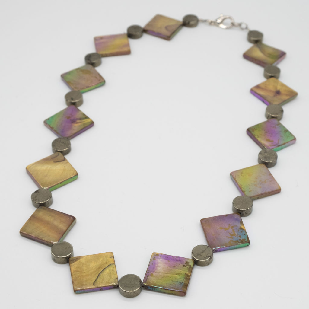 Linda McFarlane Pyrite and shell necklace