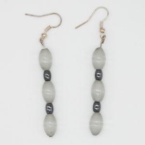 Linda McFarlane: Glass and haematite drop earrings