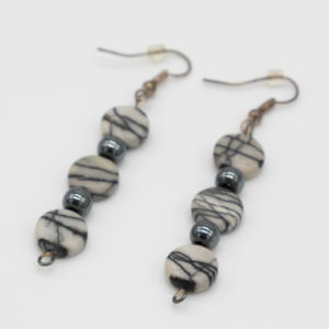 Zebra Jasper and Hematite Earrings