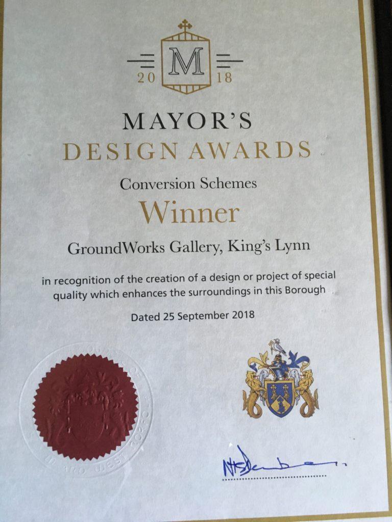 Award-winning gallery: King's Lynn Mayor's design award certificate