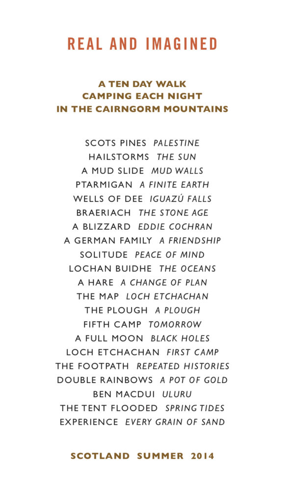 Richard Long Cairngorms walk text wok