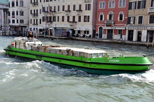 Veritas garbage boat in Venice