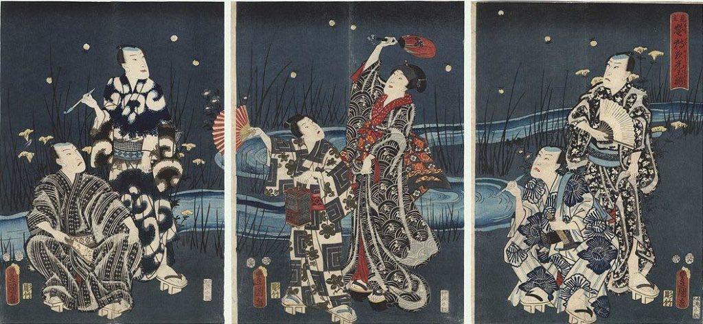 Utagawa Hiroshige 1786-1865 Genji catching fireflies