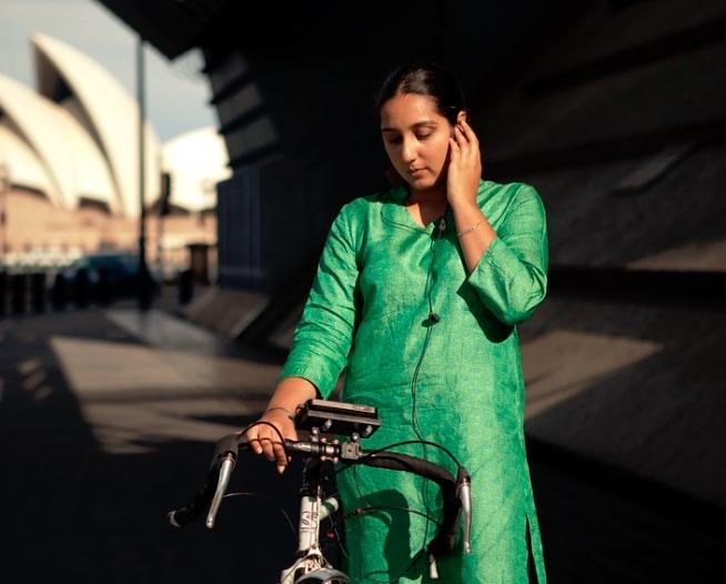 Rider spoke green dress